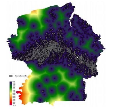 figura4.5 - Risco de Desmatamento Associado à Hidrelétrica de Belo Monte