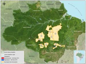 Municípios com maiores áreas desmatadas em maio de 2014