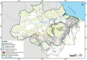 Mapa do desmatamento na Amazônia, com destaque para as Áreas Protegidas mais desmatadas segundo o SAD, entre agosto de 2012 e março de 2013.