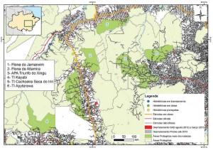Áreas Protegidas mais desmatadas no Estado do Pará e no norte do Mato Grosso entre agosto de 2012 e março de 2013 (SAD).