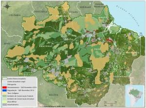 Desmatamento e Degradação Florestal em novembro de 2014 na Amazônia Legal (Fonte: Imazon/ SAD).