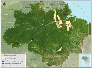 Municípios com maiores áreas desmatadas em novembro de 2014