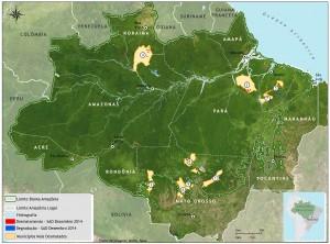 Municípios com maiores áreas desmatadas em dezembro de 2014