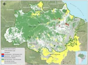 Área com nuvem e sombra em novembro de 2014 na Amazônia Legal