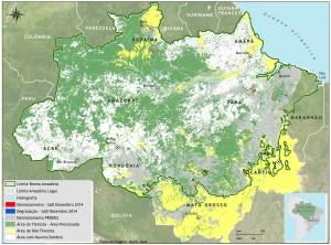 Área com nuvem e sombra em dezembro de 2014 na Amazônia Legal