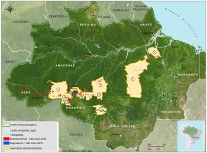 Mapa SAD municipios 300x222 - Boletim do desmatamento da Amazônia Legal (julho de 2015) SAD
