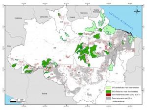 Mapa UCs criticas 2012 2014vermelho 300dpi corrigido 300x225 - 50 Unidades de Conservação com maior desmatamento na Amazônia entre 2012 e 2014