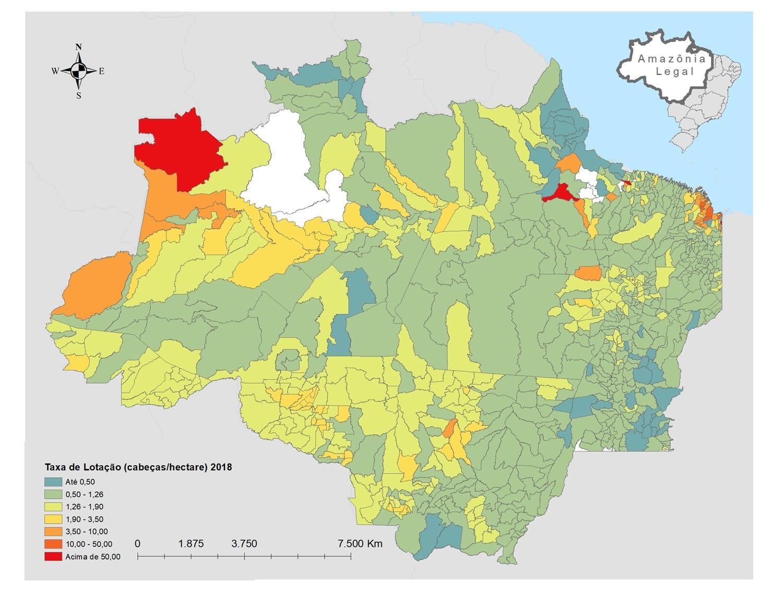 Imazon mapa imagem do dia Lotacao IBGE 2017 - #ImagemDoDia O que o Censo Agropecuário 2017 nos diz sobre a pecuária bovina na Amazônia Legal?
