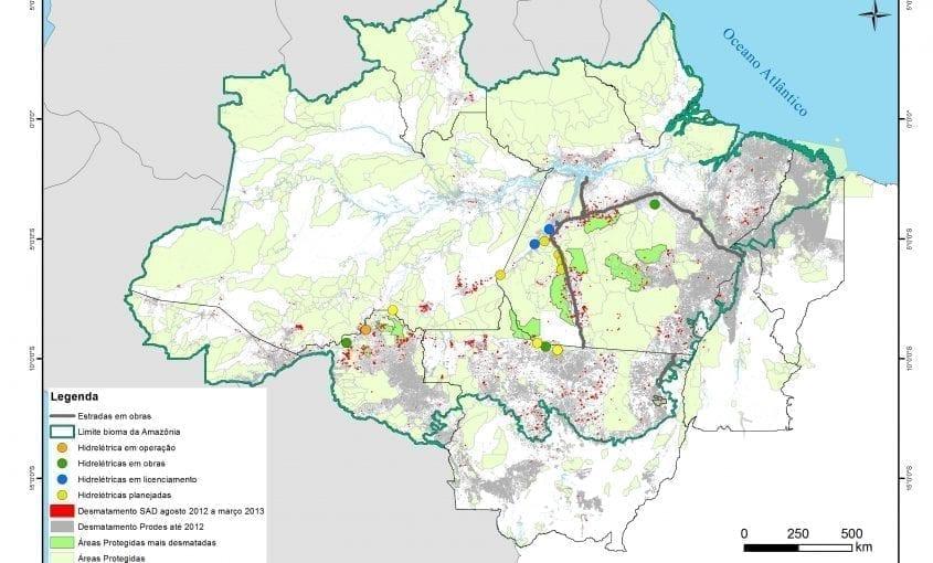 mapas areasprotegidas 1 845x510 - Mapa do desmatamento na Amazônia, com destaque para Áreas Protegidas mais desmatadas segundo o SAD, entre agosto de 2012 e março de 2013. (Pág 9 macaco).