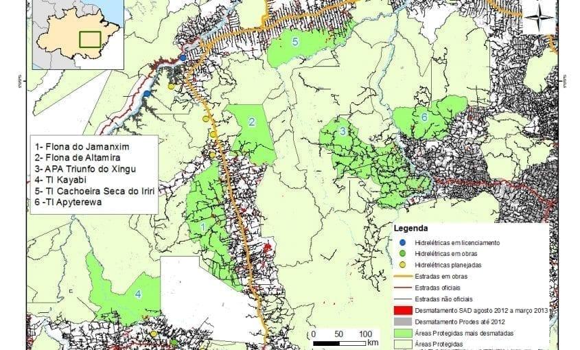 mapas areasprotegidas1 1 845x510 - Áreas protegidas mais desmatadas no Estado do Pará e Norte do Mato Grosso entre agosto de 2012 e março de 2013.