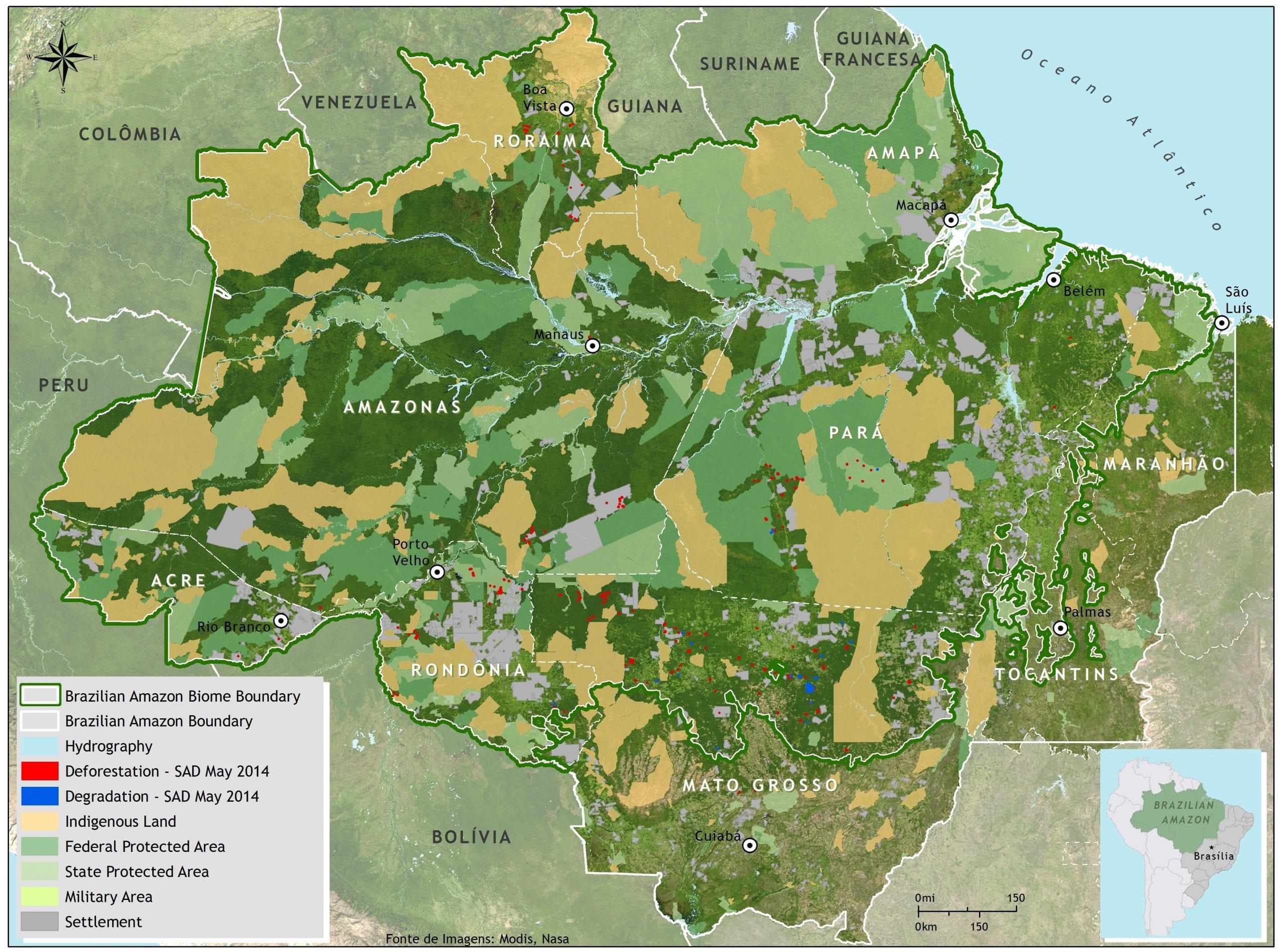 mapa2 - Municípios embargados (prioritários) e fora da lista (desmatamento monitorado) de maiores desmatadores da Amazônia elaborada pelo Ministério do meio Ambiente. Fonte: MMA.