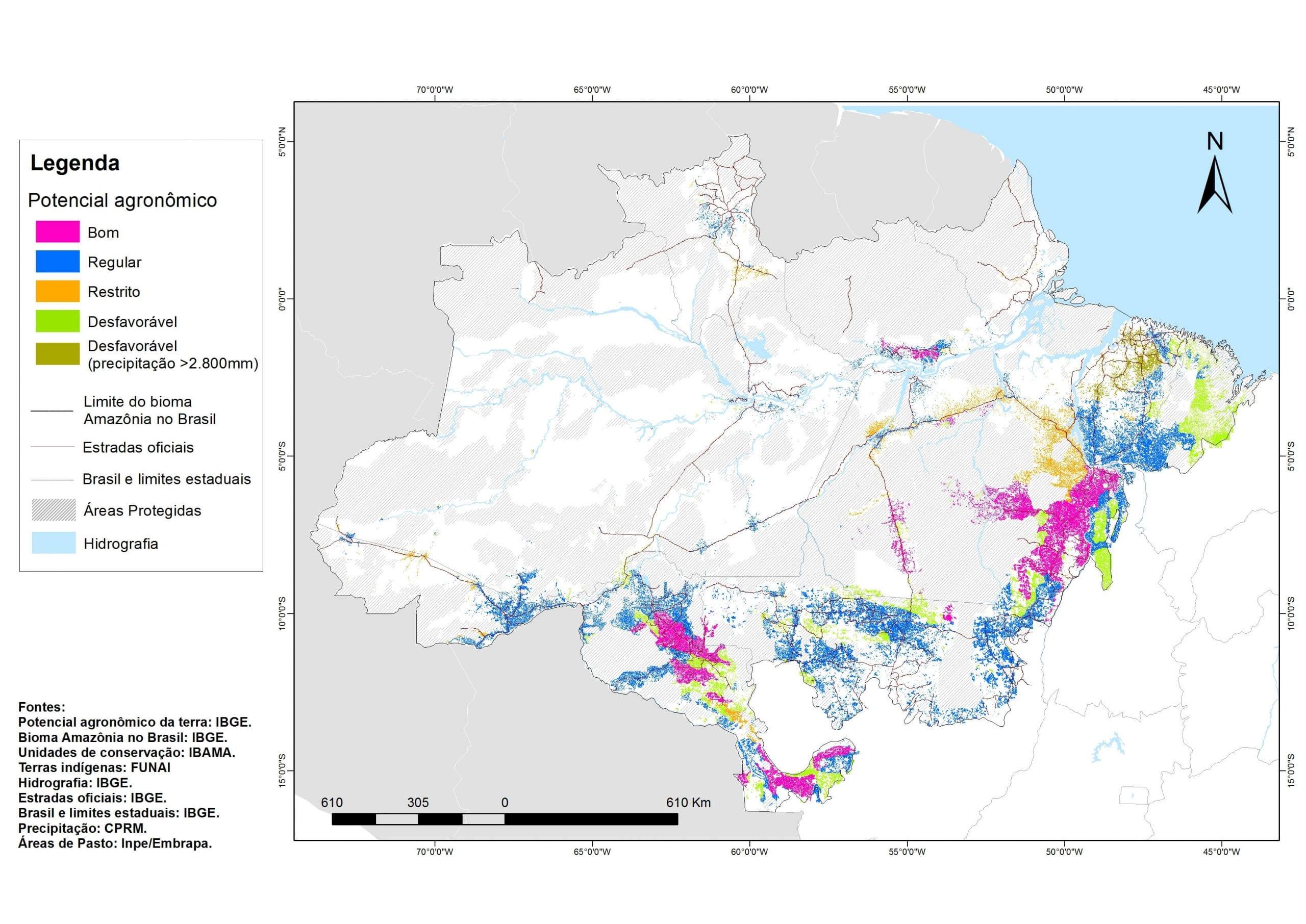 Mapa 1 1 - Potencial agronômico de terras com pasto no bioma Amazônia.