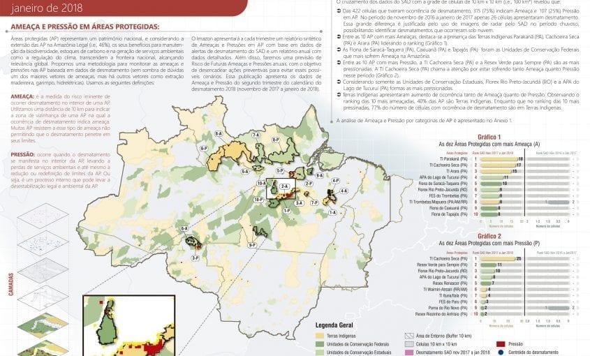 Ameaca Pressao Nov2017 Jan2018 mapa 845x510 - Ameaça e Pressão de desmatamento em Áreas Protegidas: SAD de novembro a janeiro de 2018