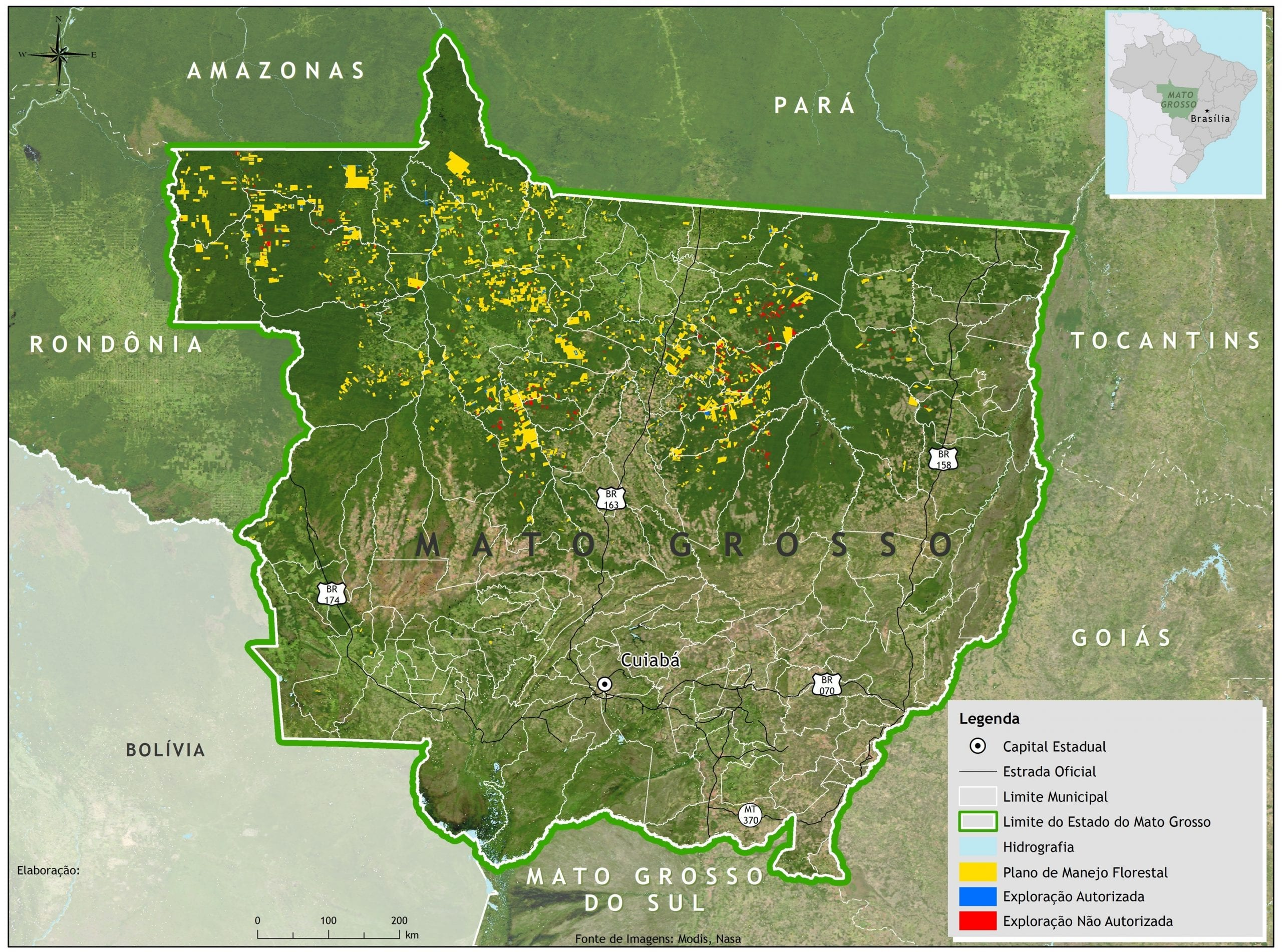 Exploracao ilegal MT Imazon - Distribuição espacial da exploração madeireira autorizada e não autorizada no Estado de Mato Grosso entre agosto/2011 e julho/2012.