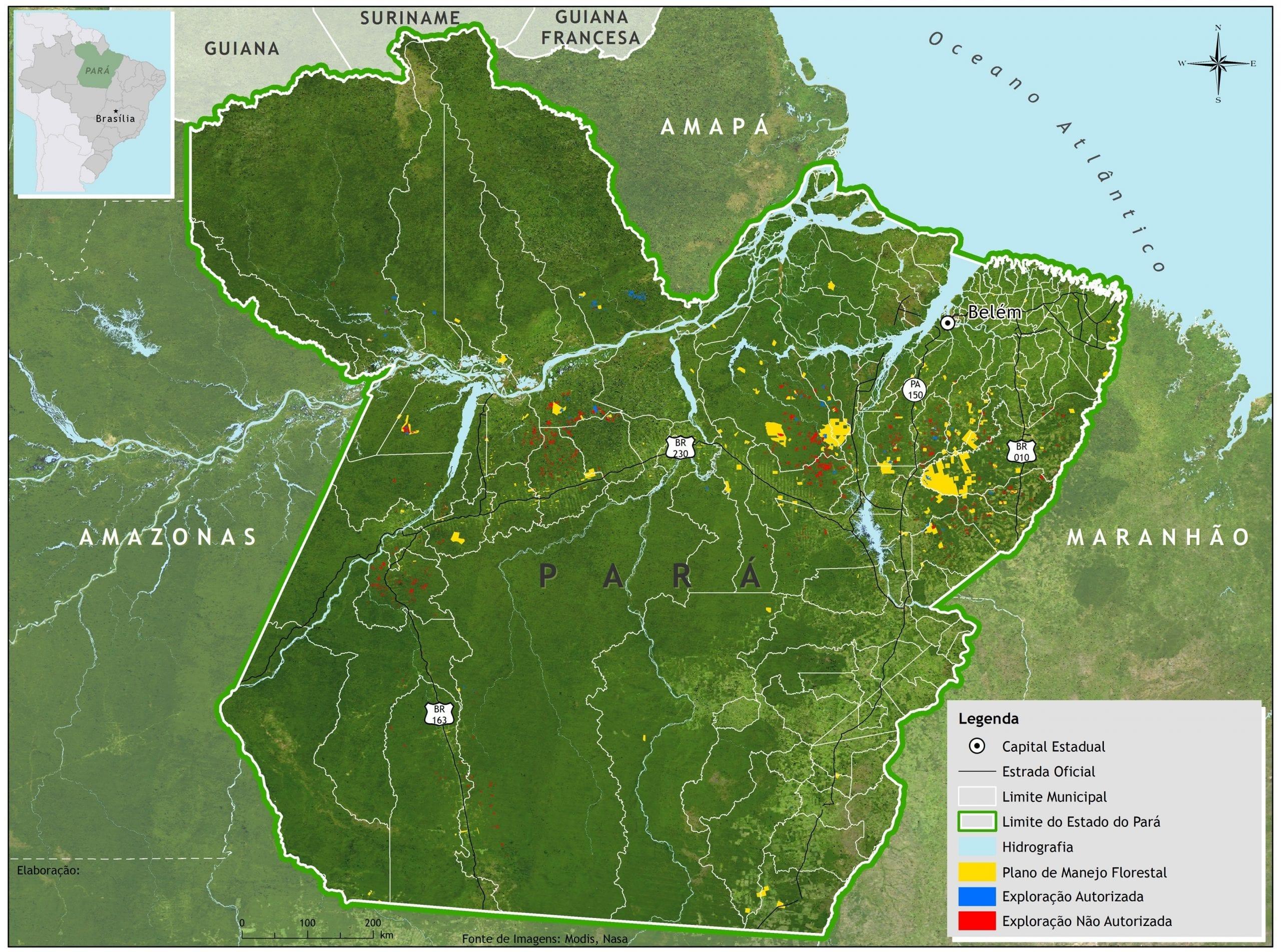 Exploracao ilegal Para Imazon - Exploração autorizada (manejo florestal) e não autorizada (predatória e ilegal) de madeira no Estado do Pará entre agosto/2011 e julho/2012.