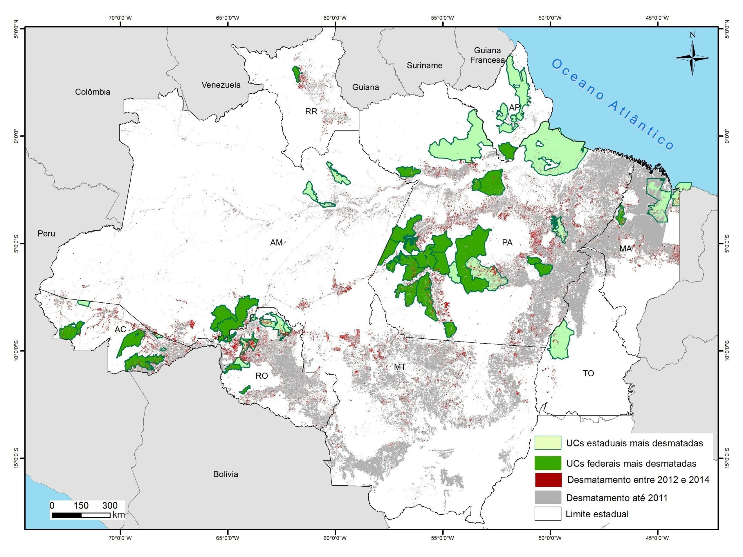 Mapa UCs criticas 2012 2014vermelho 300dpi corrigido - 50 Unidades de Conservação com maior desmatamento na Amazônia entre 2012 e 2014