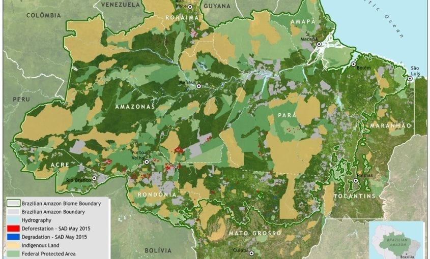figure2 mapa sad desmat 05 2015 bioma 845x510 - Deforestation report for the Brazilian Amazon (May 2015) SAD