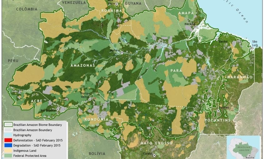 mapa sad desmat 02 2015 INGLES 845x510 - Deforestation report for the Brazilian Amazon (February 2015) SAD