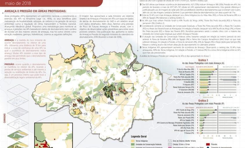 AmeacaPressao APs fevereiro a maio 2018 845x510 - Ameaça e Pressão de desmatamento em Áreas Protegidas: SAD fevereiro a maio de 2018