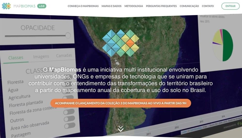 MapBiomas site - Projeto MapBiomas mapeia três décadas de mudanças na ocupação territorial do Brasil