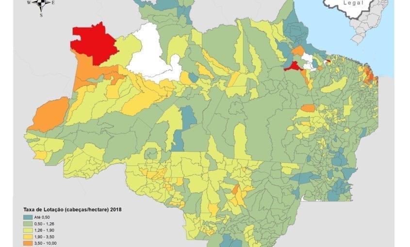 Imazon mapa imagem do dia Lotacao IBGE 2017 845x510 - #ImagemDoDia O que o Censo Agropecuário 2017 nos diz sobre a pecuária bovina na Amazônia Legal?