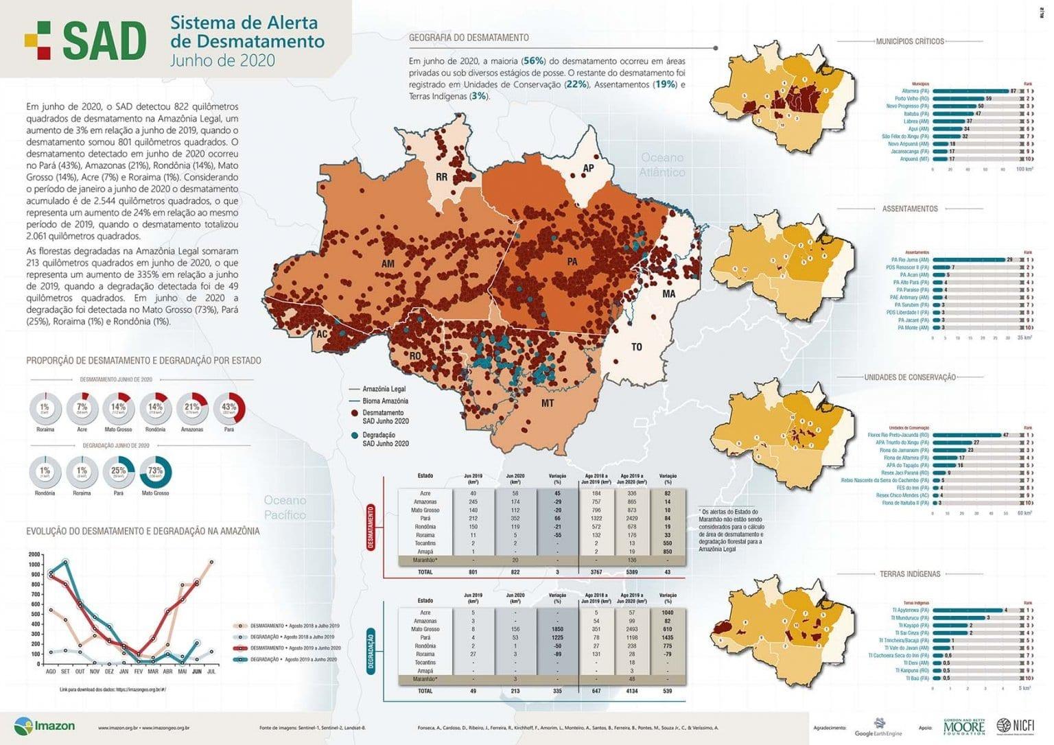 Desmatamento na Amazônia cresce 24% no primeiro semestre de 2020