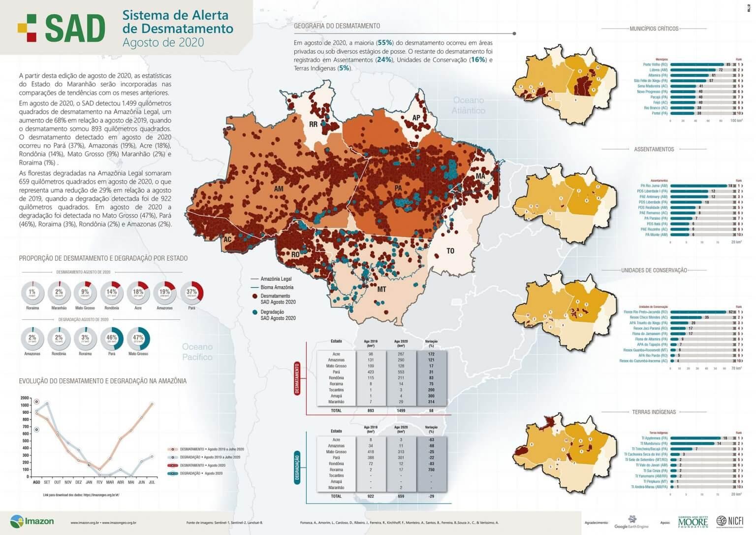 desmatamento da Amazônia em agosto de 2020