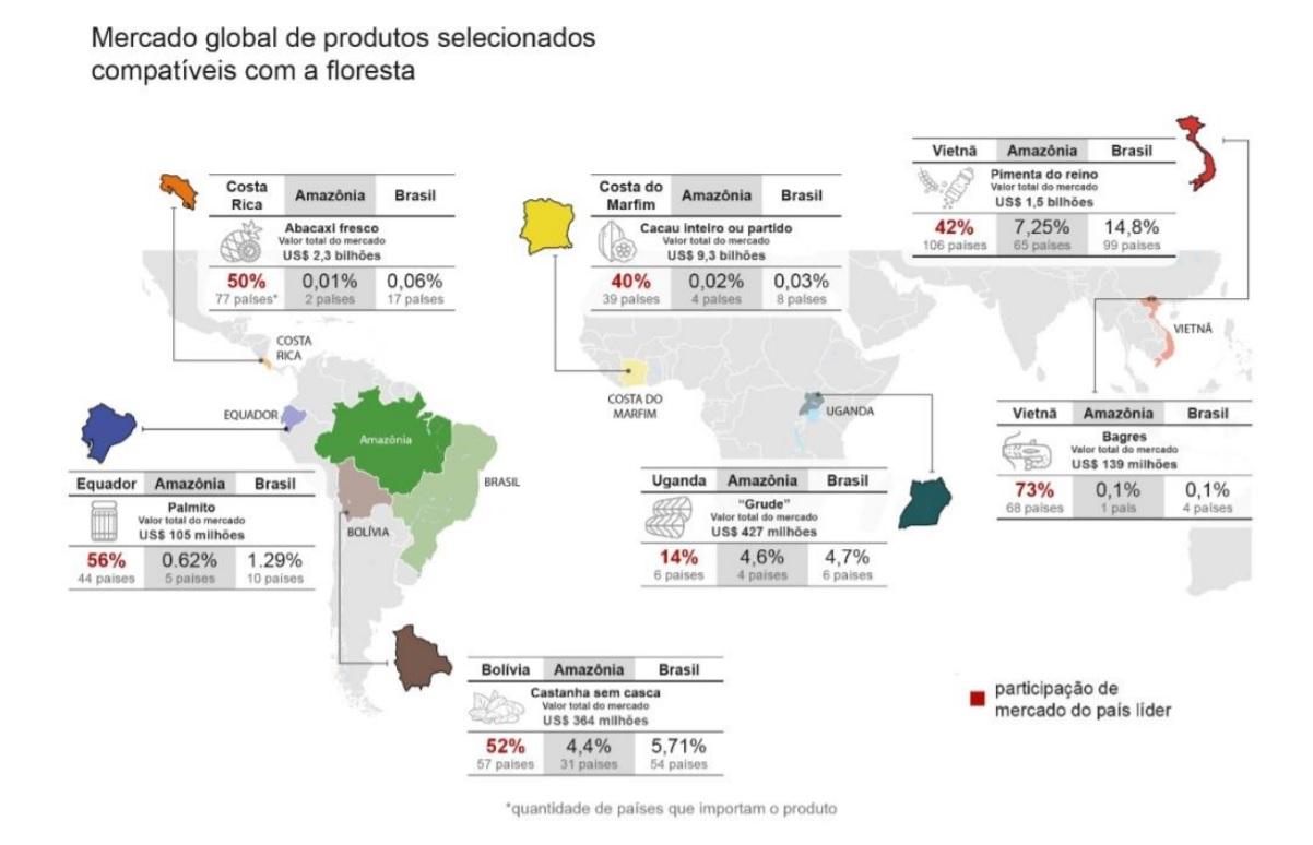 Imagem estudo Amazonia 2030 1 - Exportação de produtos da Amazônia brasileira representa apenas 0,17% em mercado de US$ 176,6 bilhões anuais, mostra estudo apoiado pelo Imazon