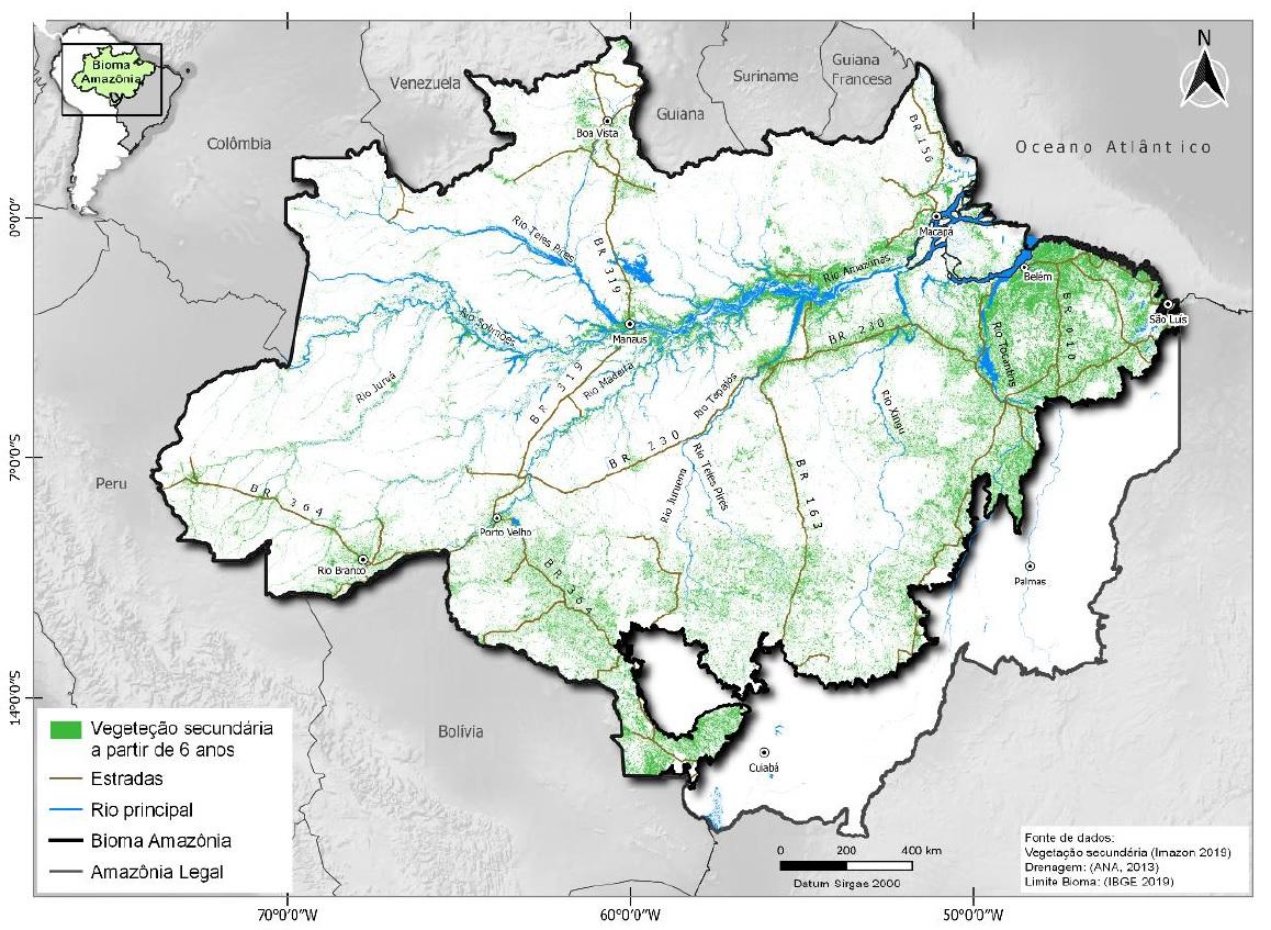 mapa AMZ2030 - Estudo inédito mostra que é possível recuperar área amazônica do tamanho da Irlanda com baixo custo
